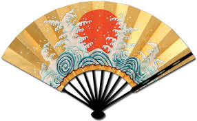 japanese fans 2126both faces makeshura ougi tathunami irihi wave sunset 京