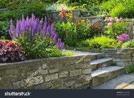 Landscape Flower Garden by Natural Stone Landscaping Home Garden Steps Stock Photo 92525983