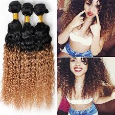 curly black hair sew in 1b 27 two tone virgin malaysian deep kinky curly hair weft