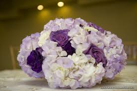 White Roses Centerpieces by White And Purple Hydrangea And Blue Curiosa Rose Centerpieces