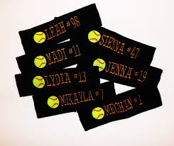 set of 7 your sport headbands with name and