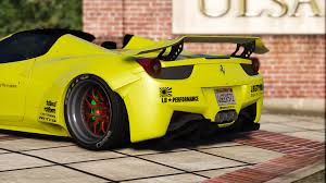 ferrari custom paint liberty walk ferrari 458 spider add on tuning livery gta5