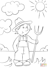 cartoon farmer with pitchfork coloring page free printable