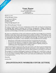 cover letter for warehouse job maintenance worker cover letter sample resume companion