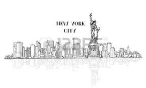 new york usa skyline sketch nyc city silhouette with liberty