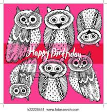 clipart of happy birthday decorative hand dravn cute owl sketch