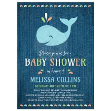 the sea baby shower whale on blue denim baby shower invitation the sea theme