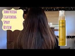 how to lighten dark brown hair to light brown john frieda sheer blonde lightening spray on dark brown hair youtube