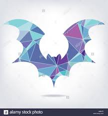 halloween flying bat silhouettes made of triangles stock vector