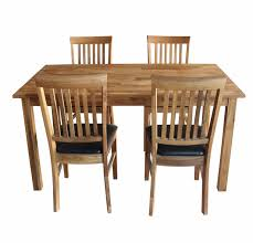 furniture solid oak dining table and chairs with black leather