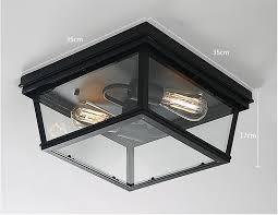 Glass Flush Mount Ceiling Light Black Metal Vintage Ceiling Light Lamp Glass Flush Mount Lighting
