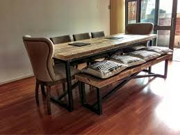 Industrial Style Bench Style Reclaimed Wood Dining Table And Benches