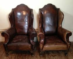 Traditional Leather Armchairs Uk An Enormous Pair Of Victorian Leather Wing Chairs C 1900 252160