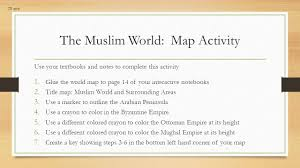 World Map To Color by Week 3 The Muslim Civilization Day 1 Work Hard Vocab Cornell