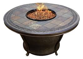 slate fire pit table agio tempe 48 round slate top gas fire pit table mediterranean