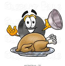 pal clipart of a hockey puck serving a roasted thanksgiving turkey