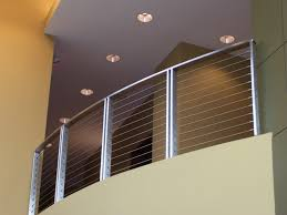 simple stainless steel balcony railing mixed with cream wall and