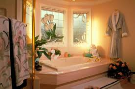 Bathroom Bay Window Floral Windows Inspire A Peachy Bathroom Spa Door And Window