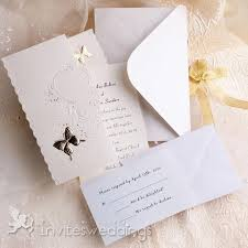 Wedding Invitation Packages Gold Betterfly And Flowers Tri Folded Wedding Invitations Iwzd07