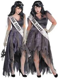 ladies zombie prom queen costume corpse halloween fancy dress plus