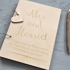 personalised wedding guest book personalised wooden guest book by clouds and currents