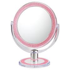 double sided free standing magnified makeup bathroom mirror pink