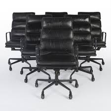 Vintage Leather Chairs Original Vintage Set 6 Herman Miller Ea219 Black Leather Office