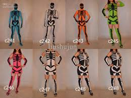 Dancing Halloween Skeleton by Halloween Skeleton Skull Full Body Lycra Spandex Zentai Suit