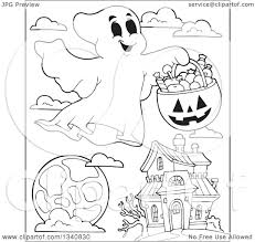 lineart clipart of a cartoon black and white happy halloween ghost