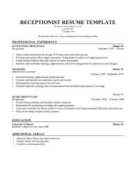 receptionist resumes samples haadyaooverbayresort com healthcare