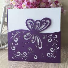 Unique Birthday Invitation Cards Dark Purple 12pcs 2017 Unique Butterfly Pocket Design Wedding