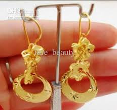gold plated earrings 2018 exquisite 24k gold plated earrings circle fashion pendant