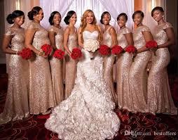 rose gold long mermaid cheap bridesmaid dresses 2018 new sequins