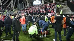 25 football fans hurt as amiens stadium barrier collapses daily