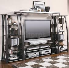 Modern Wall Mounted Entertainment Center Entertainment Centers And Wall Units Contemporary Metal And Glass