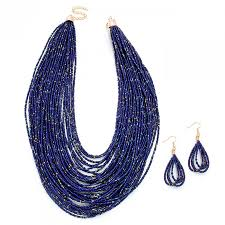 multi statement necklace images Navy blue multi strand faceted stone beaded statement necklace jpg