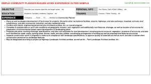 Community Resume Community Planner Resume Sample