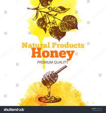 honey background hand drawn sketch watercolor stock vector