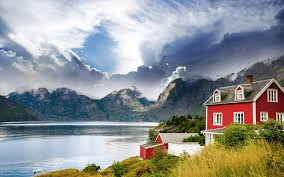 norway beautiful house on a background of mountains in norway wallpapers