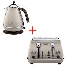 Toasters Delonghi Delonghi Vintage Icona Beige Kettle And Toaster Set Amazon Co Uk