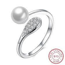 sterling silver wedding gifts 100 925 sterling silver pearl ring charm jewelry for women