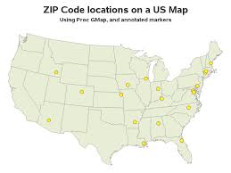 Plotting markers on a map at zip code locations using GMap or
