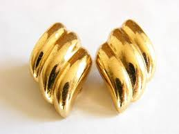 vintage earrings vintage designer couture christian clip earrings gold plated