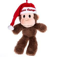 curious george with santa hat plush ornament retrofestive ca