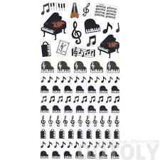 grand piano musical notes treble clef music themed stickers from