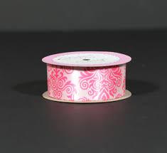 damask ribbon damask print in hot pink on 1 5 light pink satin ribbon