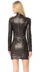 leather dress mugler sleeve leather dress shopbop