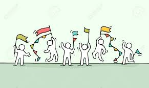 Miniature Flags Sketch Of Crowd Little People Doodle Cute Miniature Scene Of