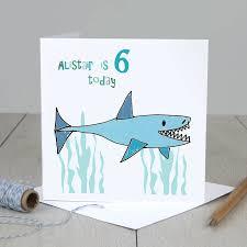 personalised shark boy u0027s birthday card by molly moo designs
