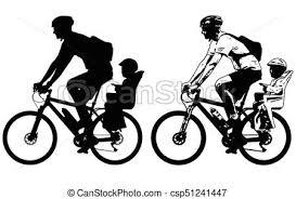 siège vélo é croquis vélo père siège équitation bébé silhouette vecteur